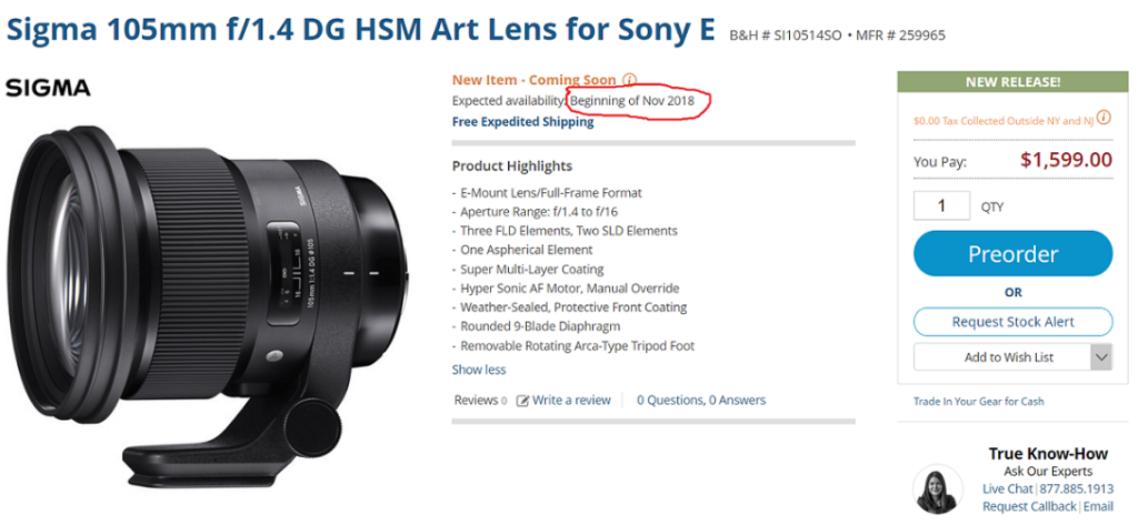 Sigma 105mm f/1.4 DG HSM Art FE Lens to be Released in November 2018 ...