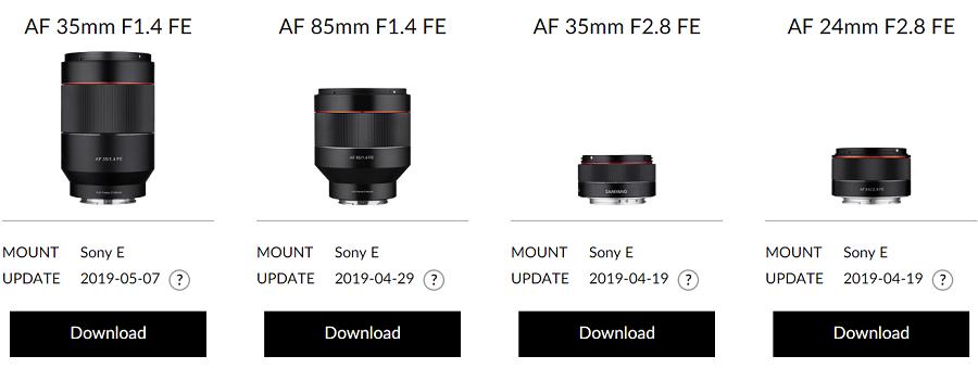 Samyang Firmware Updates: 35mm f/1 4, 85mm f/1 4, 35mm f/2 8